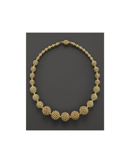 "Lagos   Metallic 18k Gold Caviar Graduated Lattice Ball Statement Necklace, 16""   Lyst"