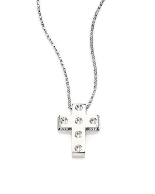 Roberto Coin | Metallic Pois Moi 18k White Gold Cross Pendant Necklace | Lyst