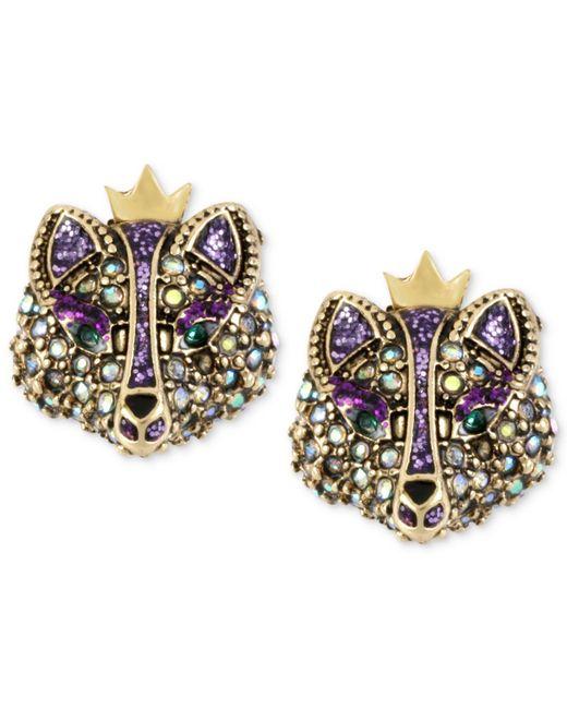 Betsey Johnson | Metallic Gold-tone Crystal Fox Stud Earrings | Lyst