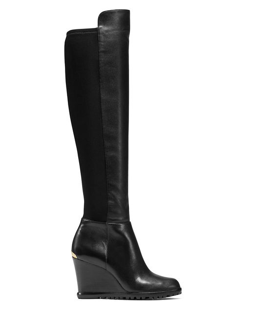 michael michael kors woods leather wedge knee high boots