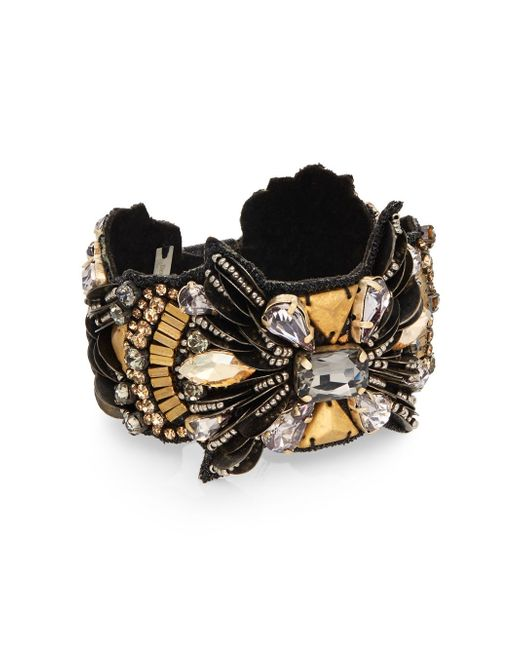 Deepa Gurnani | Metallic Warrior Austrian Crystal & Suede Bracelet | Lyst