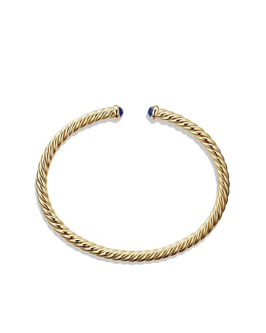David Yurman   Cable Spira Bracelet With Blue Sapphires In 18k Gold, 4mm   Lyst