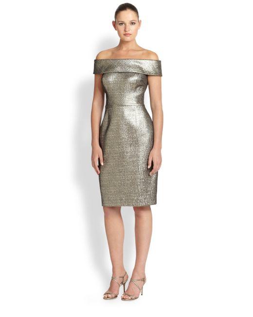 Teri Jon Metallic Jacquard Off Shoulder Dress In Gold Lyst