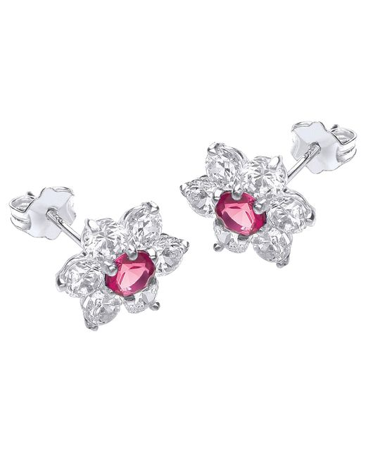 Ib&b | Pink 9ct White Gold Flower Cluster Stud Earrings | Lyst