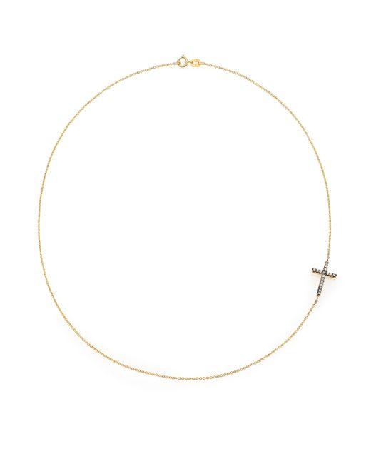 Mizuki | Metallic Diamond & 14k Yellow Gold Side Cross Necklace | Lyst
