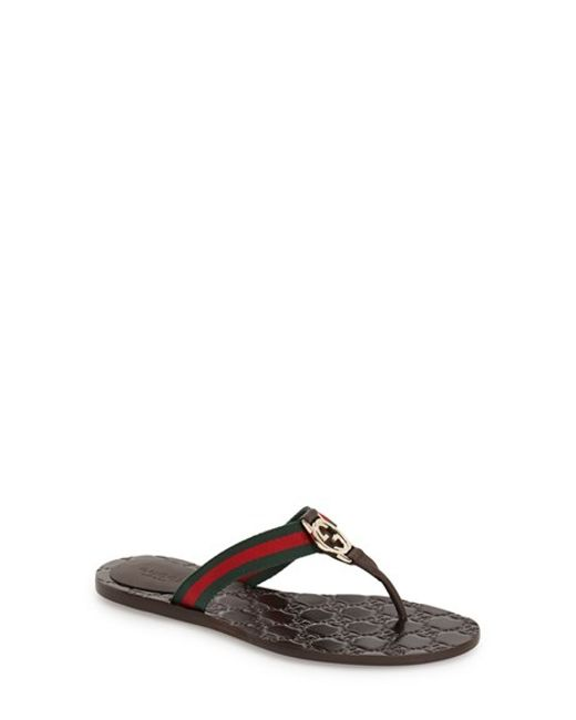 Gucci | Brown 'gg' Logo Sandal | Lyst