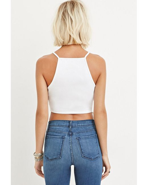 Forever 21   White Crochet Cropped Cami   Lyst