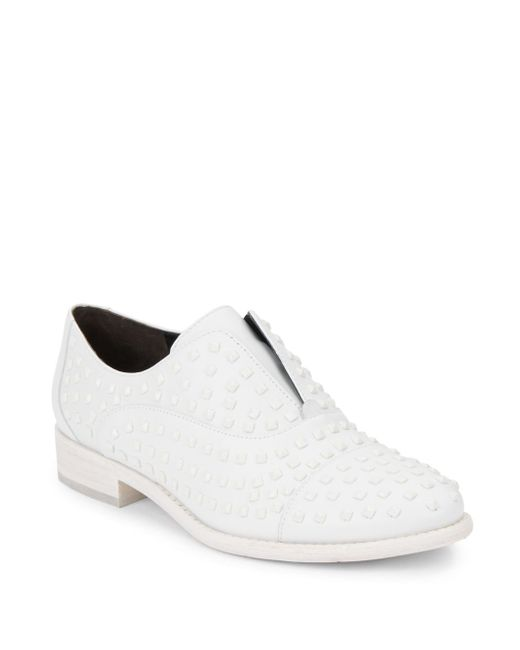 Kenneth Cole | White Stackette Studded Leather Slip-on Oxfords | Lyst
