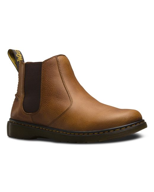 dr martens lyme chelsea boot in brown for