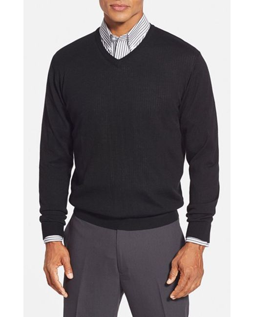 Cutter & Buck | Black 'douglas' Merino Wool Blend V-neck Sweater for Men | Lyst