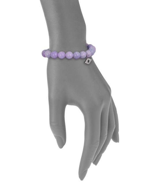 Sydney Evan | Purple Diamond, Lavender Jade & 14k White Gold Evil Eye Beaded Stretch Bracelet | Lyst