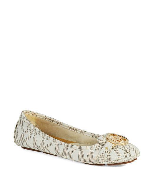 MICHAEL Michael Kors | White Fulton Logo Ballet Flats | Lyst