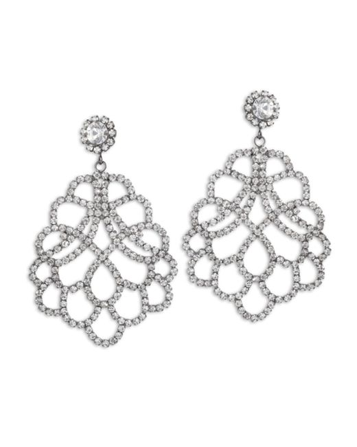 Kenneth Jay Lane | Metallic Crystal Lace Clip Earring | Lyst