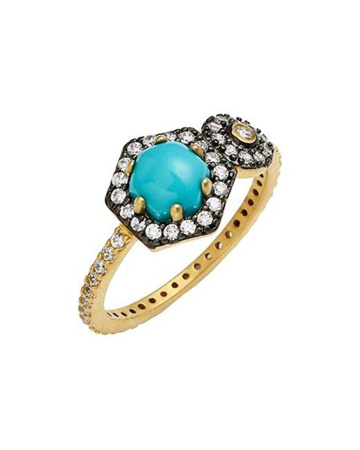 Freida Rothman | Blue 'metropolitan' Stone Two-tone Ring | Lyst