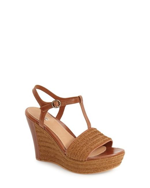 UGG | Brown Ugg 'fitchie' T-strap Wedge Sandal | Lyst