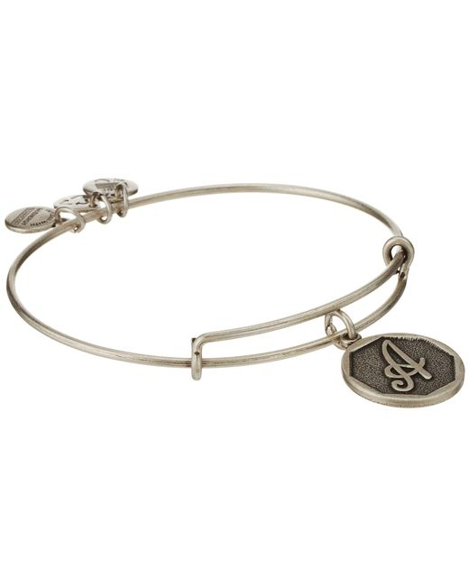 ALEX AND ANI | Metallic Initial A Charm Bangle | Lyst