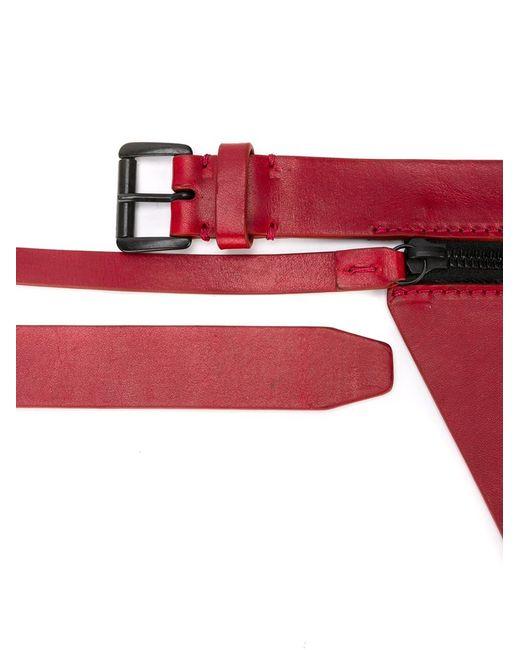 Ann Demeulemeester   Red Zip Detail Buckle Belt   Lyst