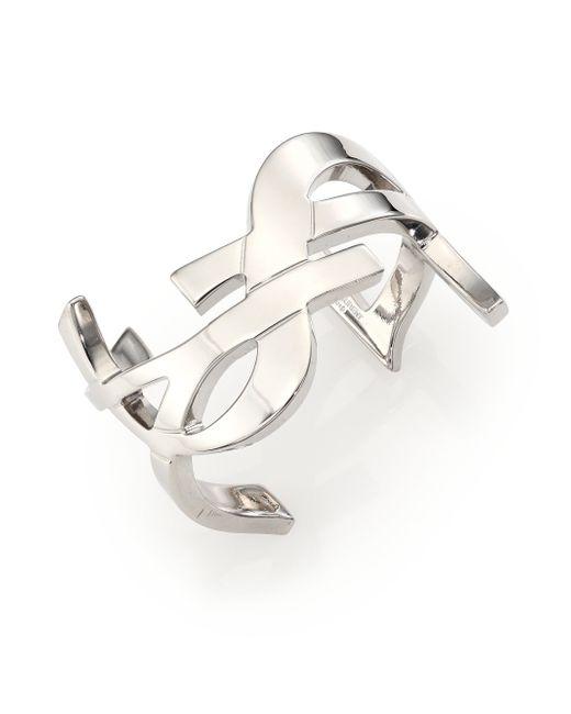 Saint Laurent | Metallic Monogram Cuff Bracelet/silvertone | Lyst