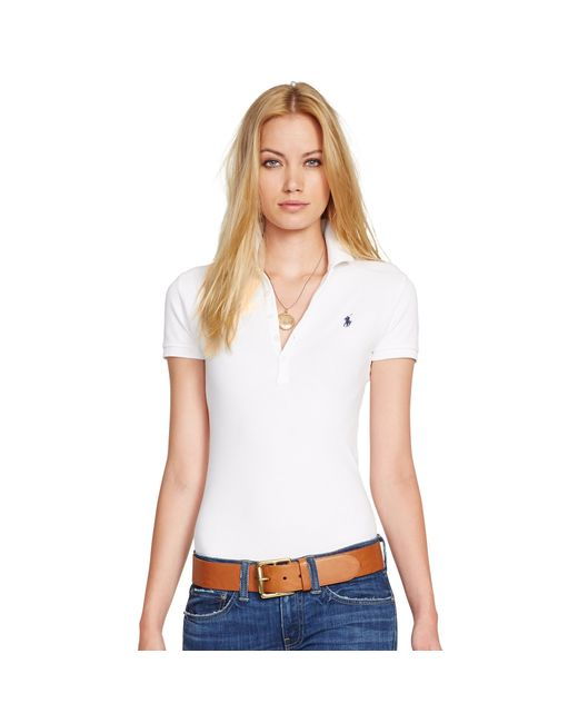 Polo Ralph Lauren | White Skinny-fit Stretch Polo Shirt | Lyst