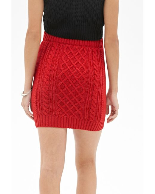 Forever 21 | Red Cable Knit Skirt | Lyst