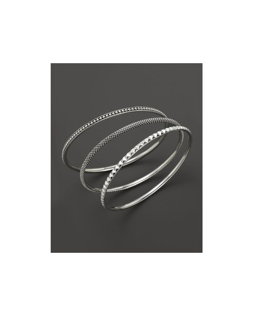 Lagos | Metallic Sterling Silver Caviar And Sugarloaf 3 Bangle Set | Lyst