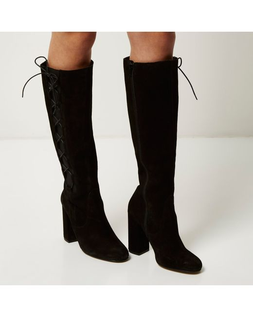 river island black suede knee high lace up boots in black