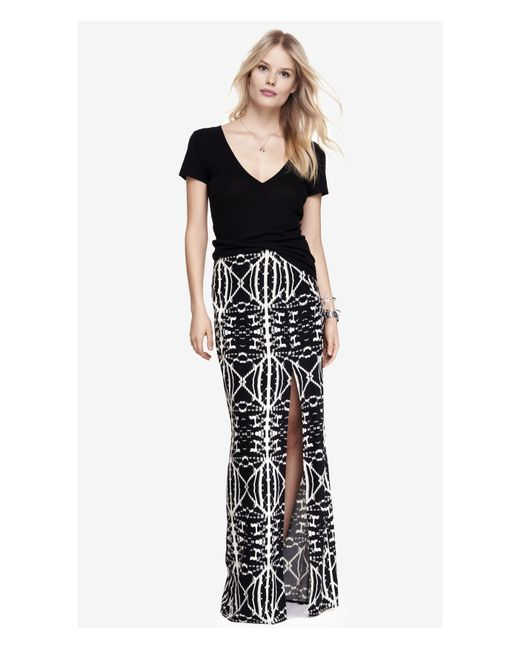 express high waisted side slit woven maxi skirt aztec in