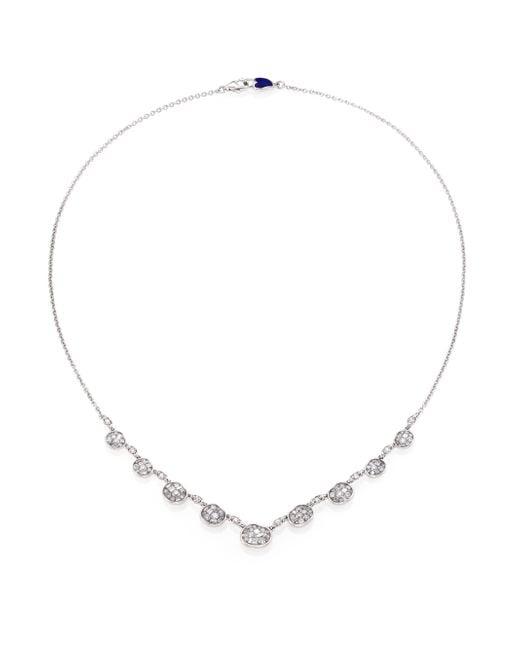 Plevé | Metallic Ice Diamond & 18k White Gold Mini Pebble Station Necklace | Lyst