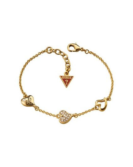 Guess | Metallic Tripple Heart Bracelet | Lyst