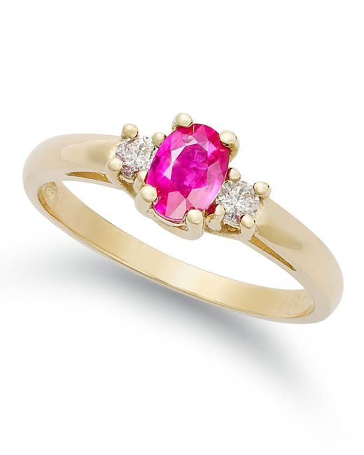 Macy s 14k Gold Ring Ruby 1 2 Ct T w And Diamond 1 8 Ct T w 3 st