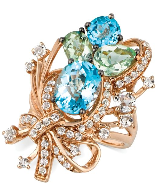 Le Vian | Crazies Collection Blue Topaz, White Topaz And Green Quartz Cluster Ring In 14k Rose Gold (7 Ct. T.w.), Only At Macy's | Lyst