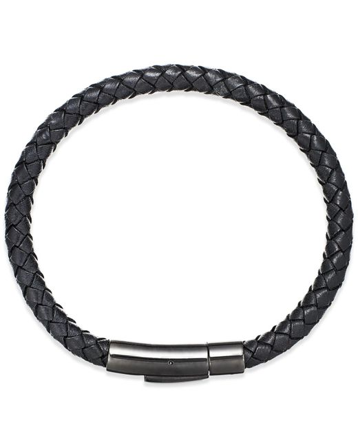 Macy's | Men's Black Leather Bangle Bracelet In Stainless Steel for Men | Lyst