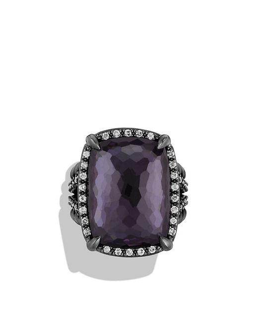 David Yurman | Chatelaine Ring With Black Orchid And Gray Diamonds | Lyst