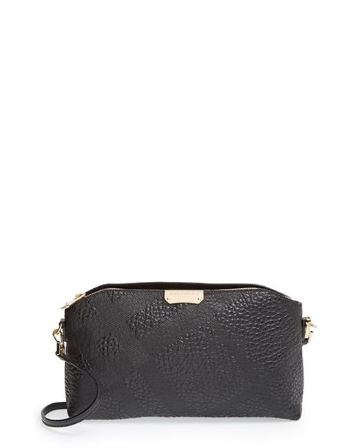 Burberry | Black 'small Chichester' Check Embossed Leather Crossbody Bag | Lyst