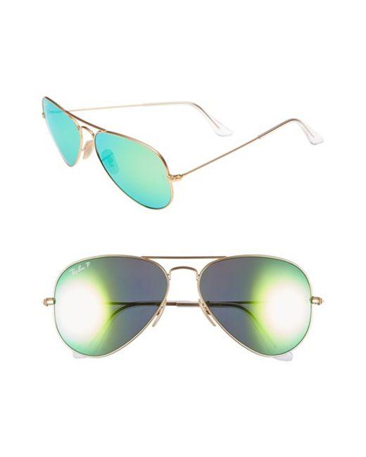 Ray-Ban | Green 58mm Aviator Polarized Sunglasses | Lyst