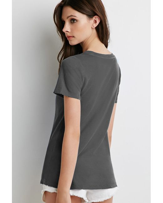 Forever 21 | Gray Distressed Trim Tee | Lyst