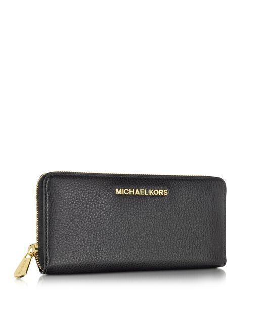 michael kors bedford black leather continental wallet in black lyst. Black Bedroom Furniture Sets. Home Design Ideas