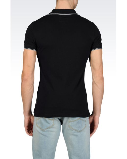 Armani Jeans | Black Polo Shirt In Cotton Pique for Men | Lyst