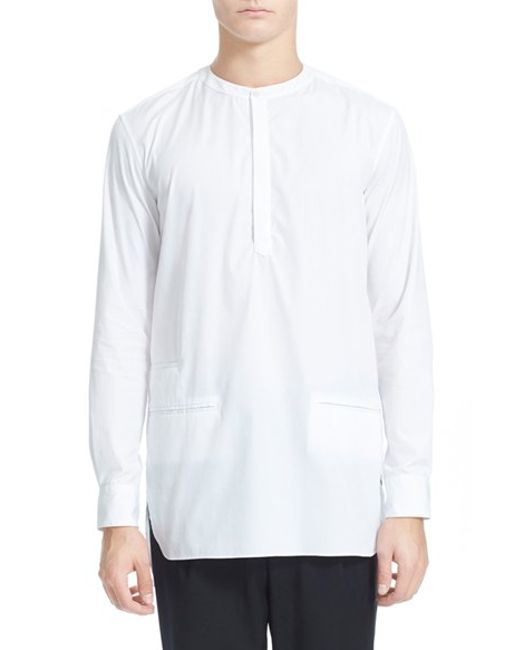 public school 39 hanaki 39 collarless cotton shirt in white