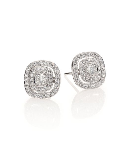 Kwiat | Metallic Silhouette Diamond & 18k White Gold Stud Earrings | Lyst