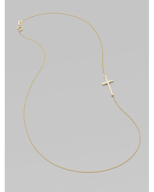 Mizuki | Metallic 14k Yellow Gold Side Cross Necklace | Lyst