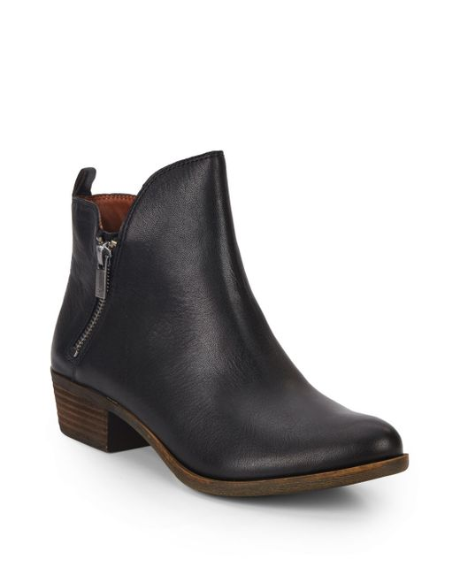 lucky brand basonta leather ankle boots in black save 46