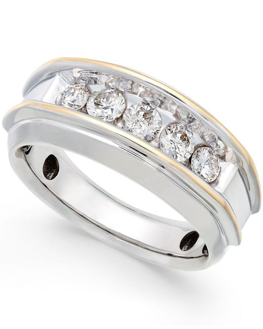 Macy's | Metallic Men's Five-stone Two-tone Diamond Ring In 10k Gold (1 Ct. T.w.) for Men | Lyst