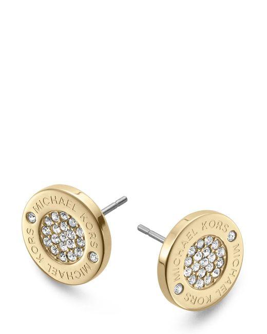 Michael Kors | Metallic Pave Logo Stud Earrings | Lyst