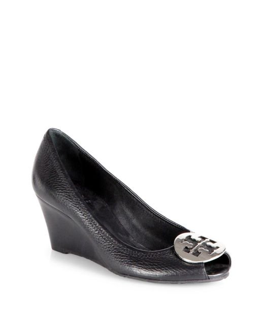 Tory Burch | Black Sally 2 Tumbled Leather Wedge Pumps | Lyst