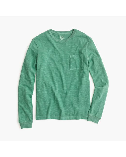 J.Crew | Green Long-sleeve Garment-dyed T-shirt for Men | Lyst