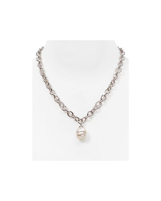Majorica | White Simulated Pearl Pendant Necklace, 17"
