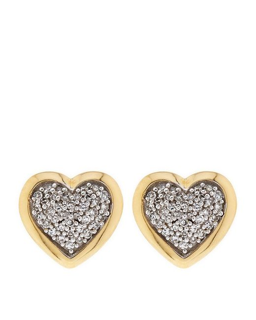 Links of London | Metallic Diamond Essentials Pavã© Diamond Heart Earrings | Lyst