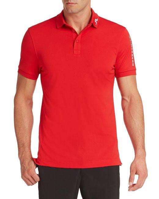 J.Lindeberg | Red Tour Tech Logo Polo for Men | Lyst