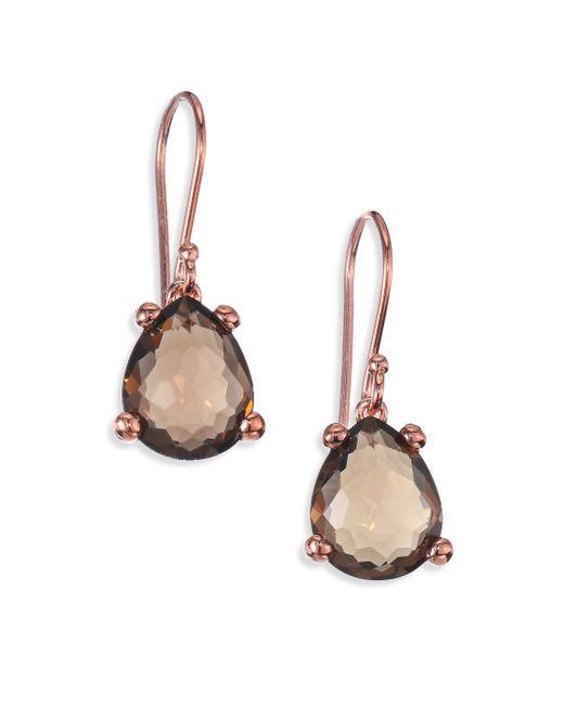 Ippolita | Pink Rose Rock Candy Smoky Topaz Pear Drop Earrings | Lyst